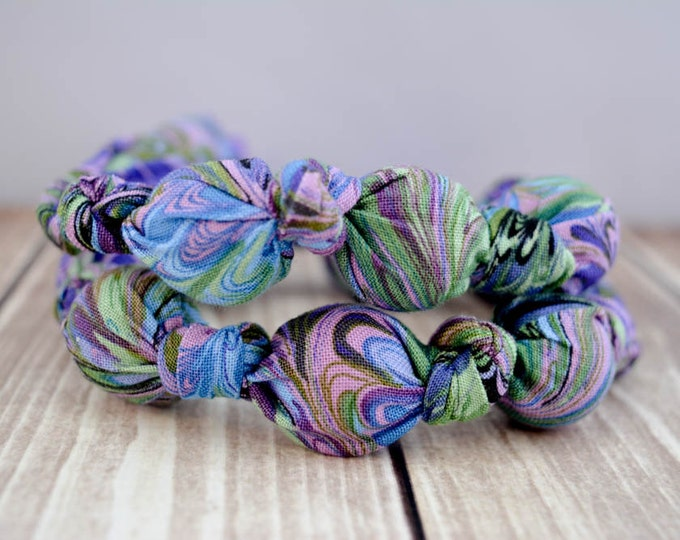Nursing Necklace, Teething Necklace, Breastfeeding Necklace, Fabric Necklace - Purple Oil Swirl