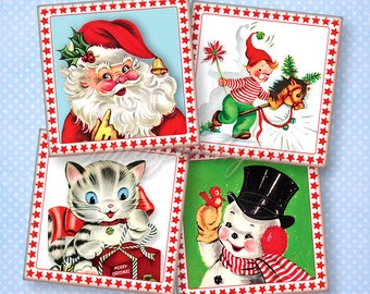 "Retro Christmas digital collage sheet 1"" square images 1x1 inch 1.5"" 7/8"" Scrabble tiles pendant printable download graphics Santa charm art"