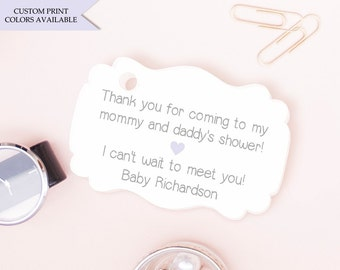 Baby shower tags (30) - Personalized baby shower tags - Baby shower thank you tags - Couples baby shower