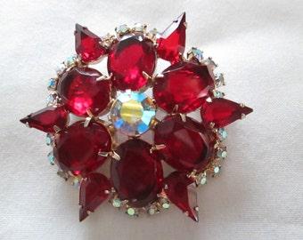Juliana Ruby Red AB rhinestone brooch