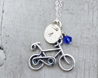 Bicycle Charm Necklace Personalized Sterling Silver Initial / Bicycle Necklace / Bicycle Hand Stamped Necklace Birthstone Swarovski Crystal