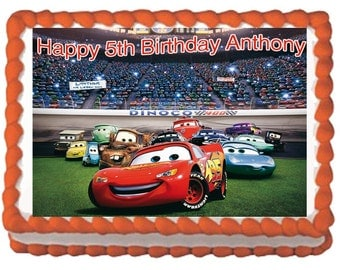 Cars Birthday Cake Lightning McQueen Cake Topper with FREE Personalization