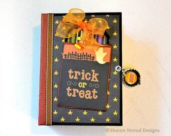 Trick Or Treat 5x7 Mini Scrapbook, Premade Halloween Keepsake Album