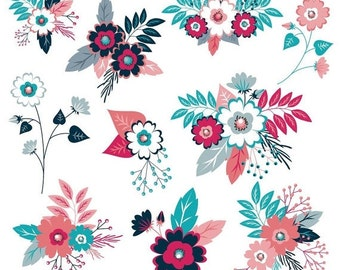 80% OFF SALE Flower Clipart, Floral Clipart, Flower Clip Art, Digital Flowers, Navy Flowers, Pink Flowers, Wedding Flowers, Commercial Use,