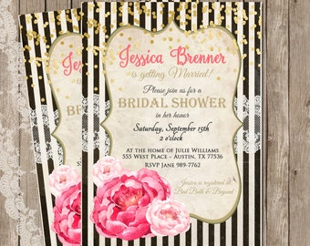 Confetti, Bridal Shower Invitation, Pink, Gold, Stripes, Lace, Vintage, Floral, Digital File, Printable, 5x7