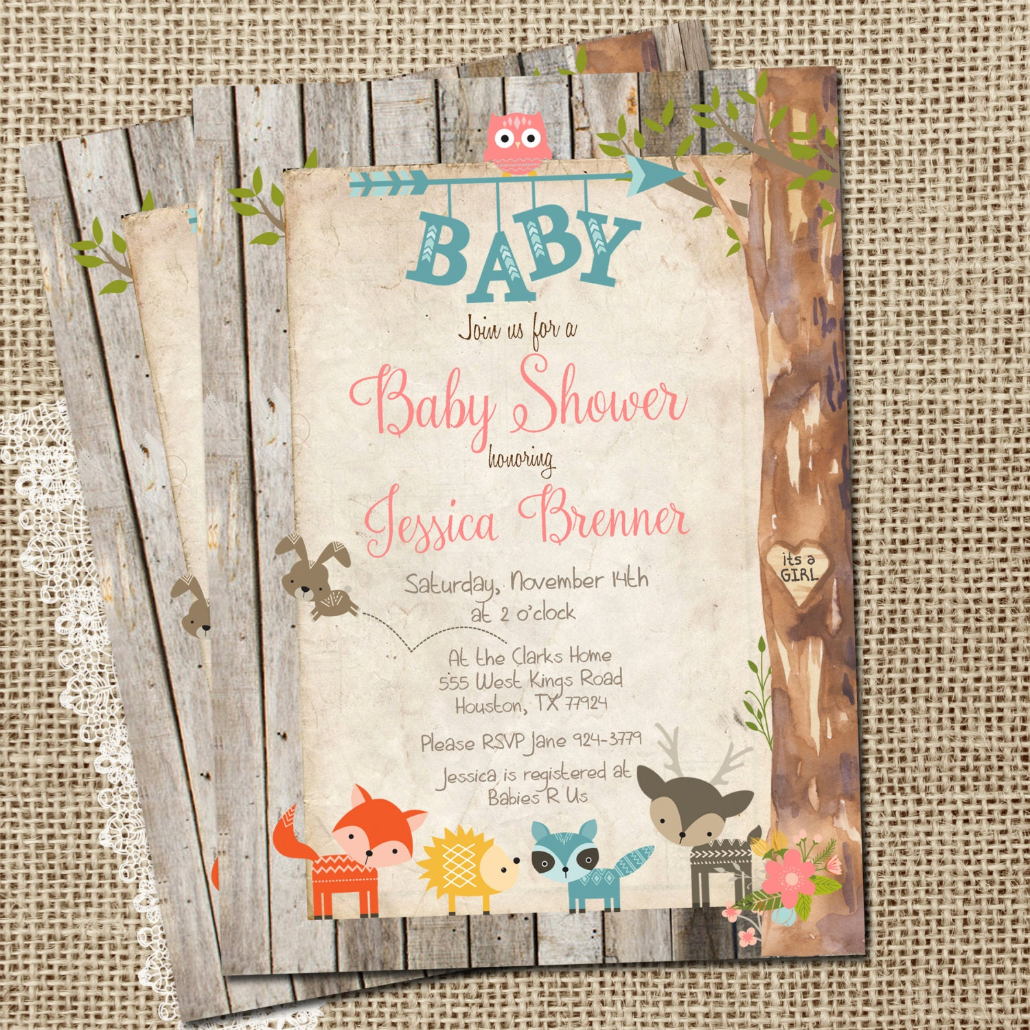 Girl Woodland Animals Baby Shower Invitation By WallflowerEvents
