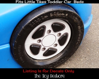 new replacement decals stickers fits little tikes tykes toddler race car bed 1 white rim