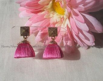 Pink Handcrafted Silk Thread Jewelry - Chandelier earrings - Stud-hook earwire-Silk thread Jhumka-Jhumkas-thread jhumkas