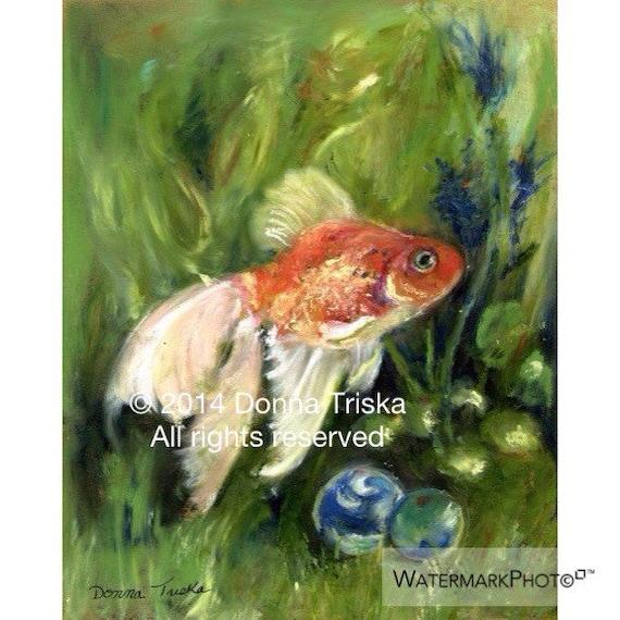 8 x 10 Fine art print of my original goldfish art, goldfish painting, orange and gold fish i