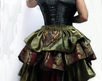 Olive Green and Purple Bustle Skirt
