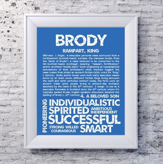 Brody Personalized Name Print Typography Print Detailed