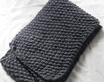 Handknit, Chunky, Oversized Scarf, Grey, Winter, Scarf, Fall, Extra Long Scarf, Grey Chunky Scarf