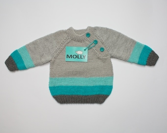 Grey knitted baby boy cardigan, knitted baby sweater, infant, toddler, kids, 6-9 months old, EU size 74, grey turquoise
