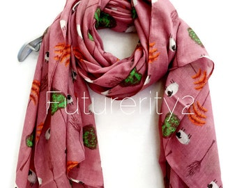 Sheep And Tree Pale Purple Scarf / Spring Summer Scarf / Autumn Scarves / Women Scarves / Gifts For Her / Handmade Accessories