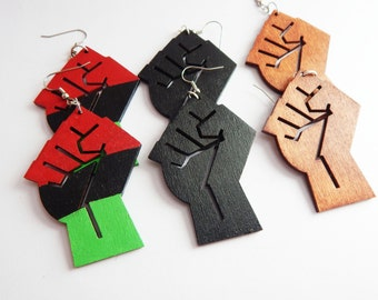Power Fist Earrings Red Black Green Wood Black Power Fist Jewelry African Earrings Afrocentric Jewelry Handpainted Cute