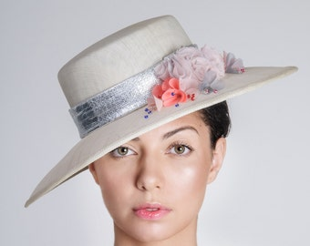 Summer Wide Brim Hat, Women Handmade Headwear, Ivory Sinamay Straw Hat, Decorated with Handcrafted Flowers