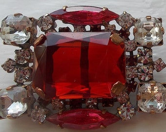 Magnificent enormous Vintage Rhinestone Czech button~Red~crystal~Salmon hot pink