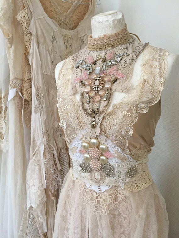 Wedding dress embellishedvintage inspired by rawragsbypk for Vintage wedding dresses paris