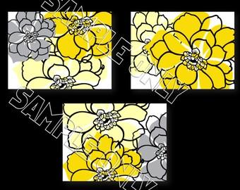 Yellow Gray Modern Flowers Floral Splash Wall Art Prints 5x7 8x10