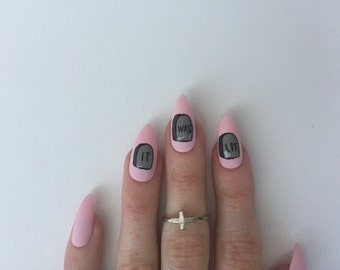 "LIT Tombstone nails, set of ten matte pink ""it was lit"" press on nails, fake stiletto nails"