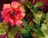 "Gypsy Rose - An Original Watercolor Painting by Linda Henry - 5""x 7"" - Ready to Frame with a free White Mat (Rose #17)"