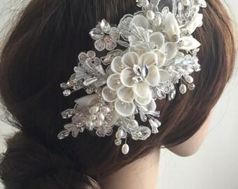 Bridal Hair Piece - Bridal Hair Flower, Bridal Fascinator, Bridal Hair Accessories - Lace and flower hair piece - IVORY