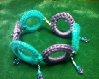 Purple & Blue Crocheted and Beaded Bracelet