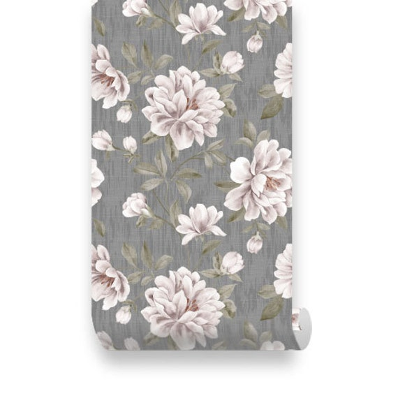 Items similar to vintage floral peel stick Floral peel and stick wallpaper