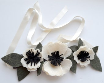 Felt Flower Crown - Bridal Floral Head Wreath / Wedding / Photography Hair Piece / white Anemones