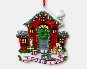 Red House Personalized Ornament - New Home - First Apartment - Hand Personalized Christmas Ornament