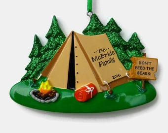 SHIPS FREE - Camping Personalized Ornament - Tent Camping - Family Vacation - Hand Personalized Christmas Ornament
