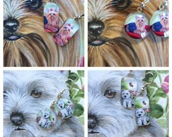 Adorable Dog earrings, Yorkie Earrings, Westie Earrings, Yorkshire Terrier, Puppy earrings,  Jewelry, Pet