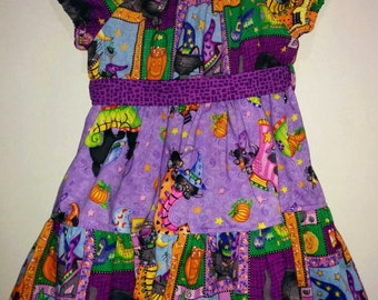Baby Infant Toddler Girls Halloween Fall Black and Purple Boo Kitty Cat Panel Boutique Peasant Dress Outfit! Black Cat Witch Hat