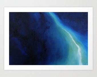 Blue Abstract Art, Oil Panting, Professional Giclee Print, Home Decor, Wall Decor, Art Print, Wall Art
