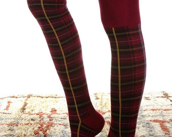 RED Plaid over the Knee Boot Socks, adorable, plaid, over the knee, comfy, dress up or down, fashion, trendy, hot, eyecandie