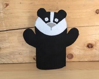 Felt Badger Hand Puppet