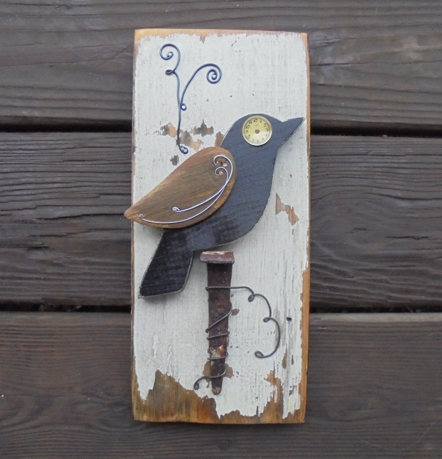 Barn Wood Assembled Bird Wall Art Vintage Objects By