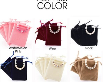 50 Premium Velvet Drawstring Pouches (Large) - Bags for Craft, Jewelry, Accessories, Necklace, Earrings - Wedding Favors, Gifts Packaging