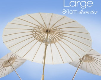 Large 84cm - White Paper Parasols / Paper Umbrella - DIY Wedding Accesories, Party Decor, Bridal, Baby Shower, Handicraft, Props