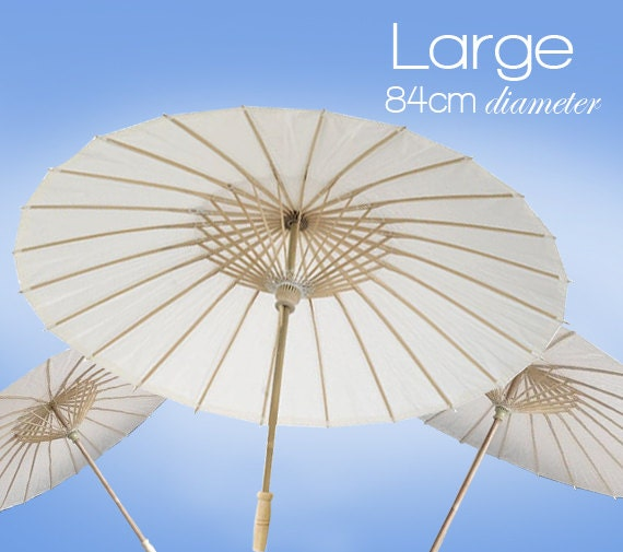 Items similar to large 84cm white paper parasols paper for Decor umbrellas