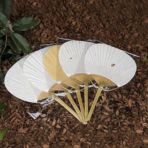 Set of 6 pcs japanese paper paddle fans bamboo handles - Japanese paddle fan ...