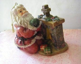 "VTG. Santa"" saying his prayers"" tree ornament"