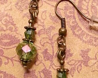 Light Green Crystals & Bronze Dangle Earrings