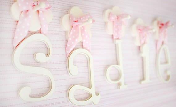 9 Wooden White Wall Hanging Letters For Nursery By