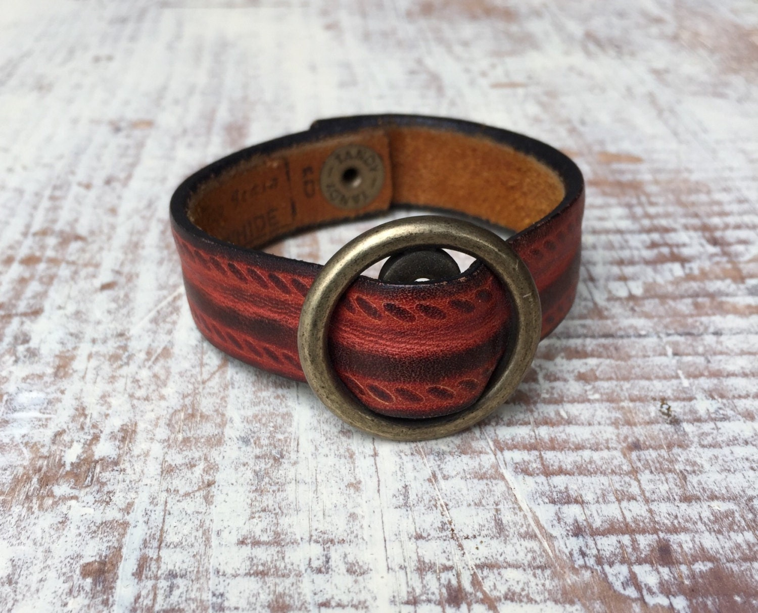 Repurposed recycled reclaimed brown rust leather bracelet Repurposed leather belts