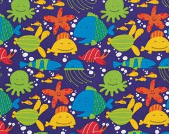 SALE! Fabric of the Week 2.00/Yard - Fish in Ocean, Beach Collection by David Walker for Free Spirit Fabrics 4170