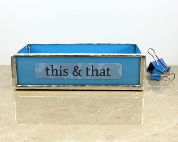 Sky blue small glass tray desk organizer box funny office - Glass desk organizer ...