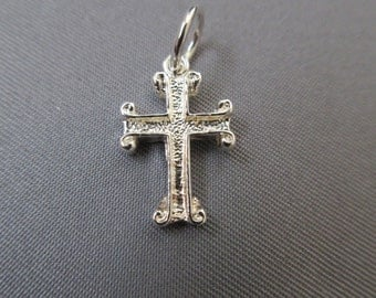 Cross Charm With Scroll Design, .925 Sterling Silver