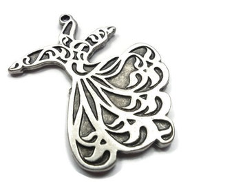 Large Whirling Dervish, Semazen Pendant, Silver Plated Sufi Pendant, Turkish Jewelry -RLS006