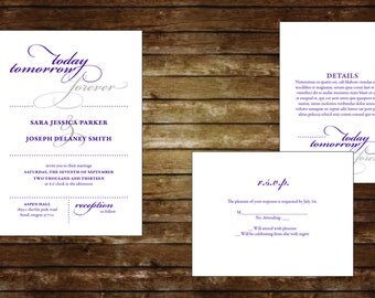 Today & Tomorrow Printable Invitation Suite, Wedding Invitations, Digital Invitations, Custom Invitations